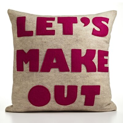 "alexandra ferguson ""Let's Make Out"" Decorative Pillow - Size: 16"" W x 16"" D, Material: Oatmeal & Fuchsia Felt at Sears.com"