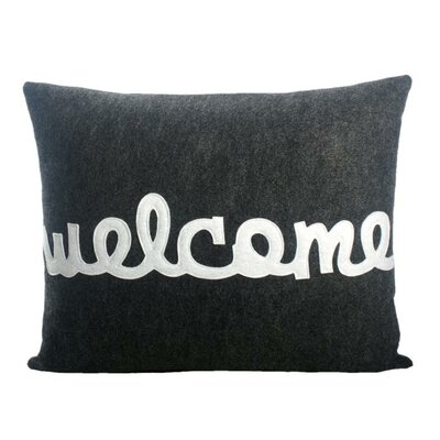 Celebrate Everyday Welcome Throw Pillow Color: Charcoal & White Felt