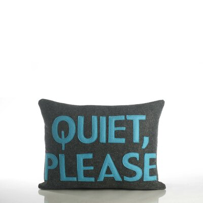 House Rules Quiet Please Throw Pillow Color: Charcoal / Turquoise Felt