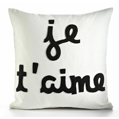 It Start With A Kiss Je TAime Throw Pillow Color: Stone / Red