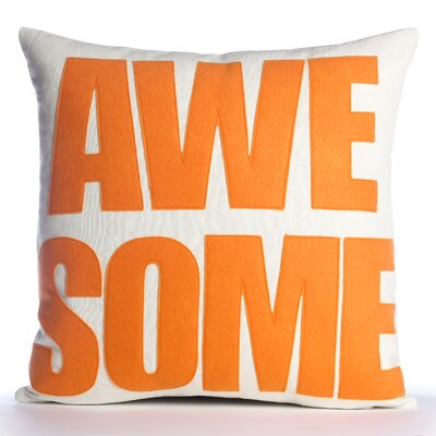 Celebrate Everyday Awesome Linen Throw Pillow Color: Charcoal / White