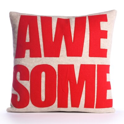 Celebrate Everyday Awesome Linen Throw Pillow Color: Oatmeal / Red