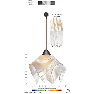 Radiance� Flame 1-Light Bowl Pendant Shade Color: Champagne/White, Size: Large