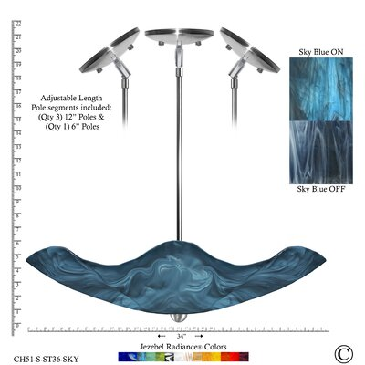 Radiance� Stingray 1-Light Bowl Pendant Shade Color: Sky Blue