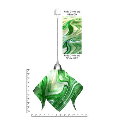 Radiance� Flame 1-Light Mini Pendant Size: Large, Shade Color: Kelly Green/ White