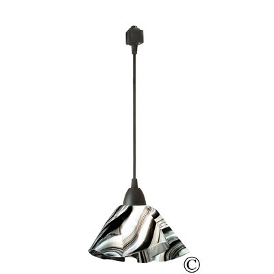 Jezebel Gallery Radiance 1 Light Lily Pendant Track Lighting - Size: Small, Finish: Black, Shade Color: Cobalt Blue