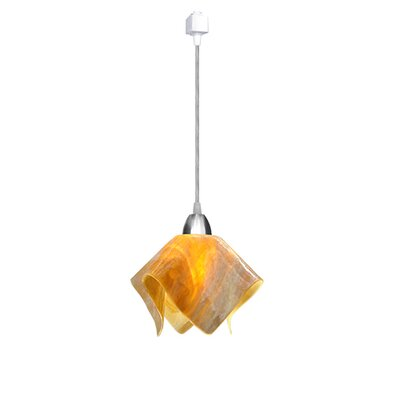Signature 1-Light Flame Track Pendant Size: Small, Finish: Black, Shade Color: Honey