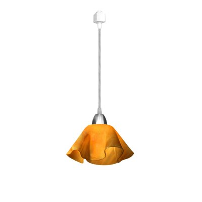 Jezebel Gallery Radiance 1 Light Lily Pendant Track Lighting - Size: Small, Finish: Nickel, Shade Color: Yellow Amber
