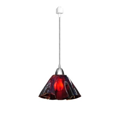 Jezebel Gallery Radiance 1 Light Lily Pendant Track Lighting - Size: Small, Finish: Nickel, Shade Color: Purple Plum