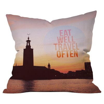 Happee Monkee Eat Well Travel Often Outdoor Throw Pillow