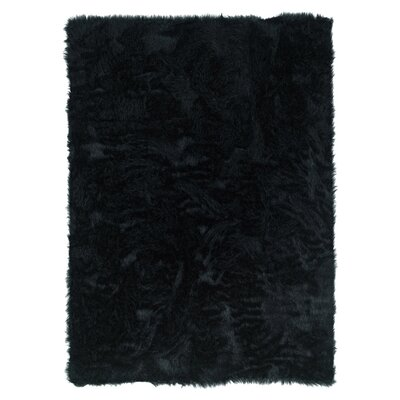 Alsace Faux Sheepskin Black Area Rug Rug Size: Rectangle 18 x 26