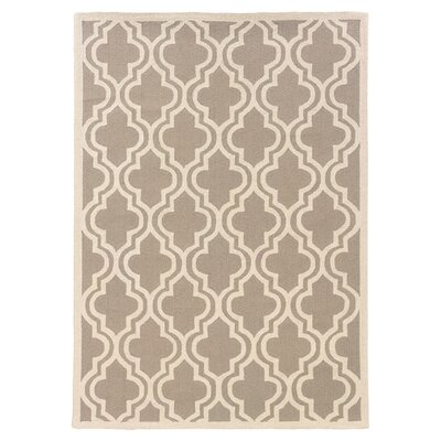 Lautrec Hand-Hooked Gray/Tan Area Rug Rug Size: 5' x 7'