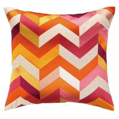 Brooke Throw Pillow Color: Orange/Pink
