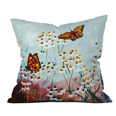 Butterflies in Chamomile I Outdoor Throw Pillow
