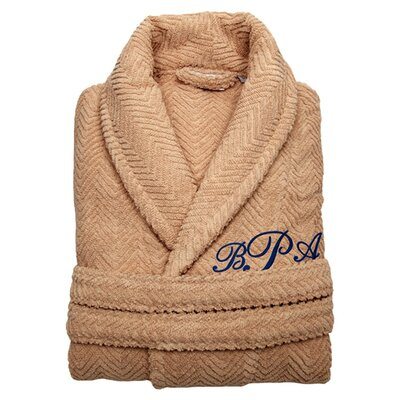 Personalized Herringbone Bathrobe in Warm Sand Size: Large/Extra Large