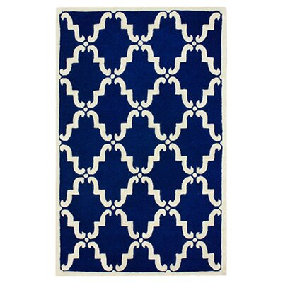 Serena Hand-Tufted Wool Blue Area Rug Rug Size: 5 x 8