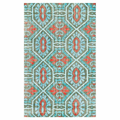 Rumi Hand Knotted Wool Paprika/Aqua Area Rug Rug Size: Rectangle 4 x 6