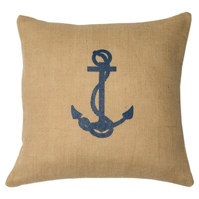 Ancre Throw Pillow Color: Natural / Navy