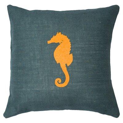 Seahorse Throw Pillow Color: Navy / Orange