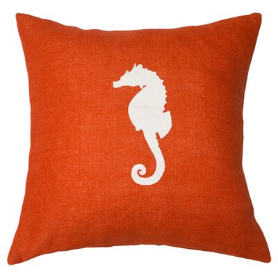 Seahorse Throw Pillow Color: Orange / White