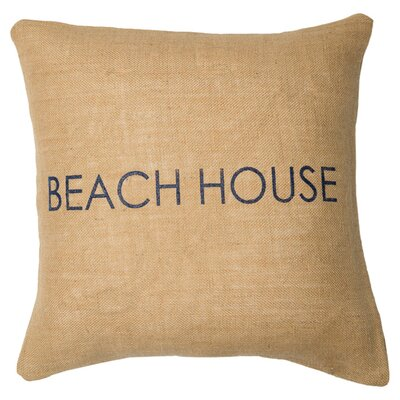 Beach House Throw Pillow Color: Natural / Navy