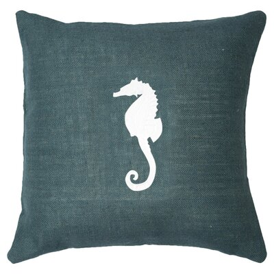 Seahorse Throw Pillow Color: Navy / White
