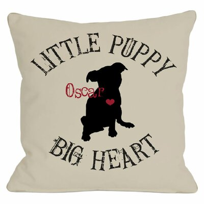 Personalized Little Puppy, Big Heart Throw Pillow