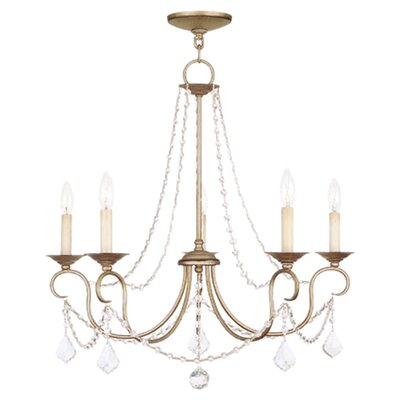 Devana 5-Light Candle-Style Chandelier Finish: Antique Silver Leaf