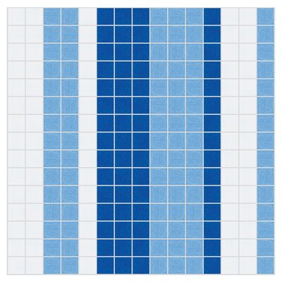 Stripes 12 x 12  Mosaic Tile in Lakefront Blue