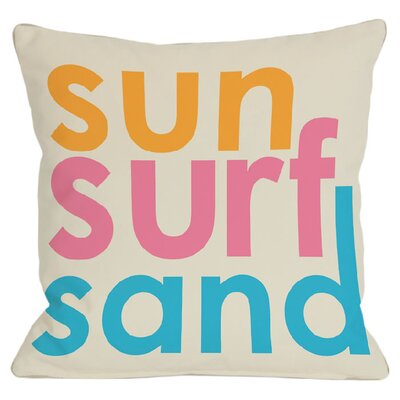 Sun, Surf, Sand Indoor/Outdoor Throw Pillow