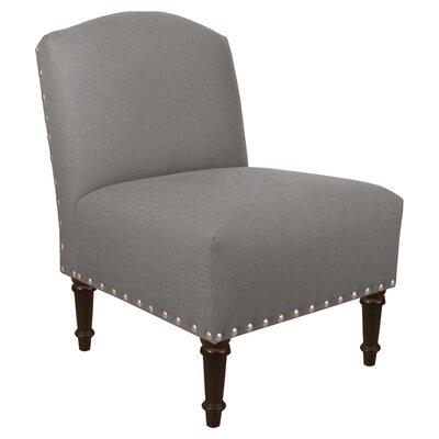 Springdale Camel Back Slipper Chair Upholstery: Linen Grey, Nailhead Detail: Pewter Nailhead