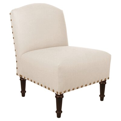 Springdale Camel Back Slipper Chair Upholstery: Linen Talc, Nailhead Detail: Brass Nailhead