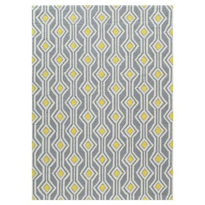 Helene Hand-Hooked Gray/Yellow Area Rug Size: 76 x 96