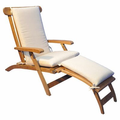 Streamer Outdoor Teak Lounger Fabric: Navy