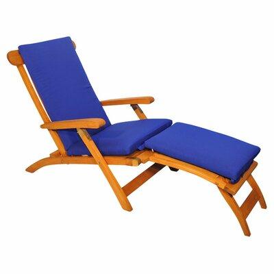 Streamer Outdoor Teak Lounger Fabric: True Blue
