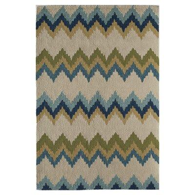 Celeste Hand-Tufted Blue/Beige Area Rug Size: 76 x 96