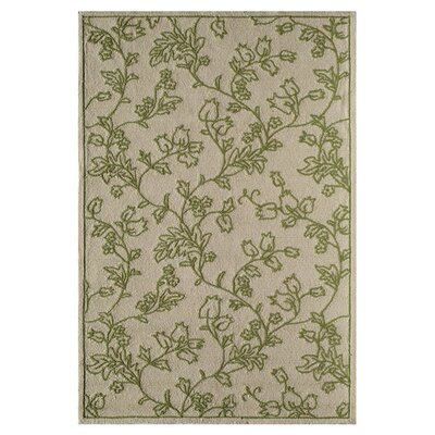 Emma Hand-Tufted Sand/Green Area Rug Size: 26 x 36
