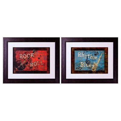 Rock and Roll 2 Piece Framed Graphic Art Set 1-3127 set
