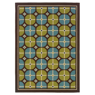 Shasta Indoor/Outdoor Green/Ivory Area Rug Size: 1'9