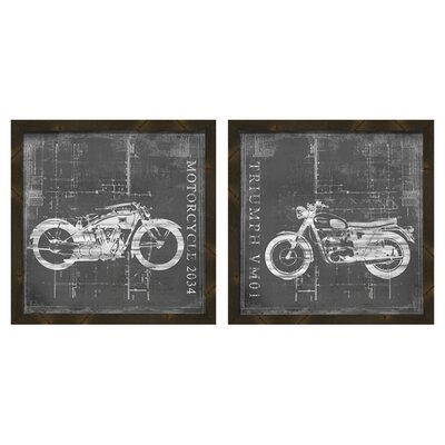 Motorcycle Blueprints Framed Vintage Advertisement 1-17931SET