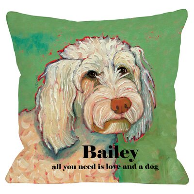 Personalized Love & Poodle Throw Pillow
