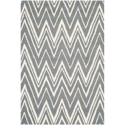 Martins Tufted Wool Grey & Silver Area Rug Rug Size: 4 x 6
