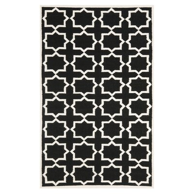 Dhurries Black Area Rug Rug Size: Round 8
