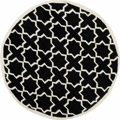 Dhurries Black Area Rug Rug Size: 6 Round