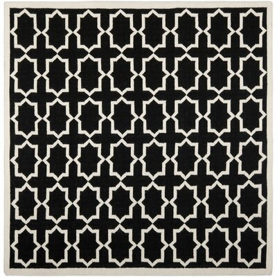 Dhurries Black Area Rug Rug Size: Rectangle 6 x 6