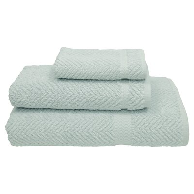 3-Piece Herringbone Towel Set in Aqua