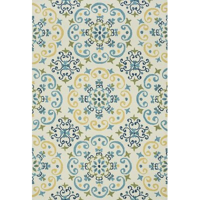 Francesca Moroccan Ivory & Light Blue Area Rug Rug Size: Rectangle 36 x 56