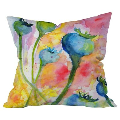 Poppy Pods Outdoor Throw Pillow Size: 16 H x 16 W x 4 D