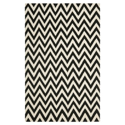 Dhurries Wool Black/Ivory Area Rug Rug Size: Runner 26 x 10