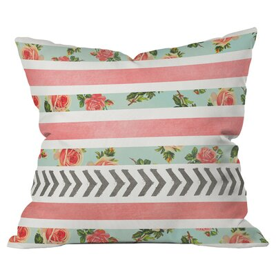 Floral Stripes and Arrows Outdoor Throw Pillow Size: 16 H x 16 W x 4 D